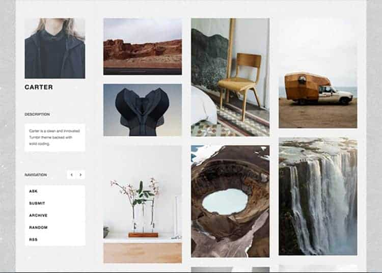 Carter Free Tumblr Theme for Artists